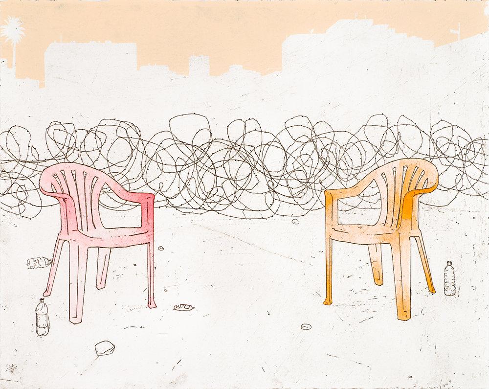 "Prisoners' Dilemma  Intaglio, silkscreen, hand-coloring, 18x24"", 2008"