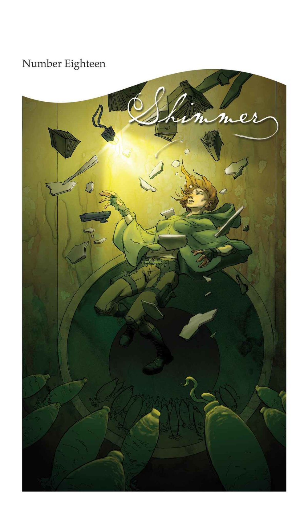 "Cover of  Shimmer  magazine, with an amazing interpretation of a scene from my story ""Unclaimed."" Illustration by Kurt Huggins."