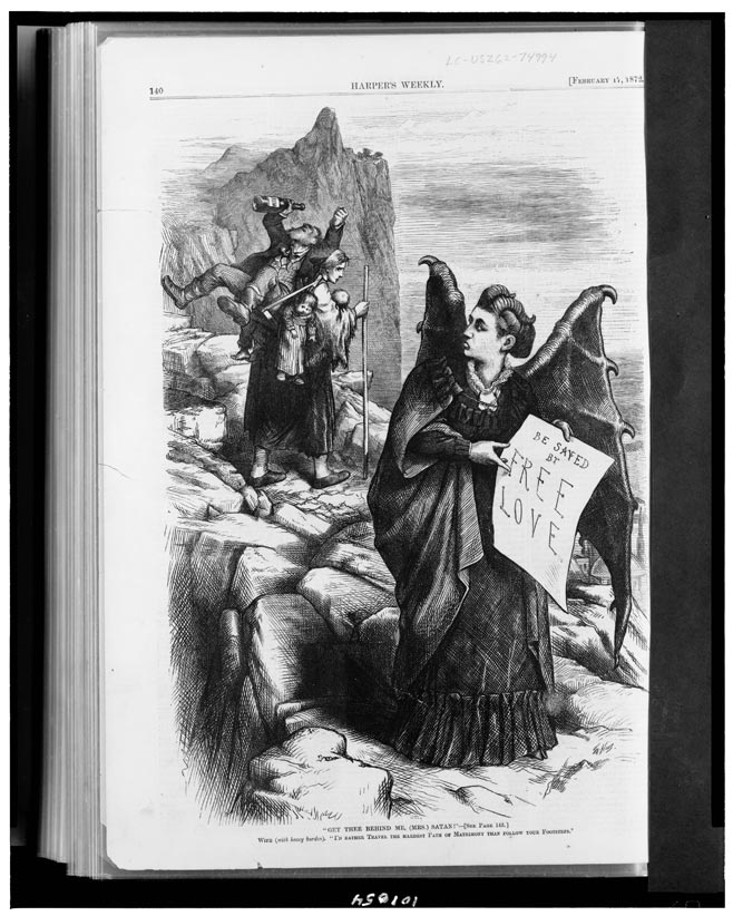 Of course, Woodhull faced the kind of prejudice that all female presidential candidates have faced; here she is depicted as Mrs. Satan.