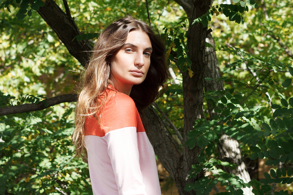 doro oneof orange pink split long sleeve