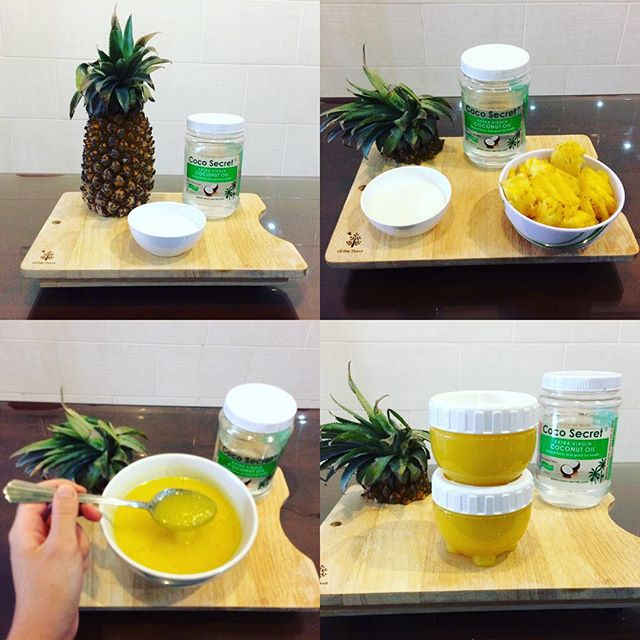 DIY Pineapple & Coconut Oil Sugar Scrub 🍍🍍🍍 This simple sugar scrub is made of 3 natural ingredients. Pineapple is full of Vitamin C which can help to prevent premature ageing of the skin. It is also a great natural exfoliate and combined with the sugar will help to get rid of dead skin cells and leave your skin feeling smooth and fresh. The coconut oil will lock moisture into your skin after the exfoliation and leave you feeling soft as a baby! I love this summer scented face and body scrub! Remember, if you want to try this - it's probably a good idea to test a small patch of skin first, in case you find out you're allergic to pineapple or find this aggravates your skin. I use this in the shower for my face and body, rub it into my skin and then shower it off. My skin feels refreshed and wonderfully smooth! I keep it in the fridge to keep it fresh, and try to use it within a few days - so I wouldn't recommend making a big batch of this unless you're going to share it with your friends! 💛🍍💛 #jasminesbeautykitchen #homemadebeautyproducts #diy #pineapple #homemadesugarscrub #diybeautytips #coconutoil #coconutoilbenefits #naturalbeautyproducts #vitamins #antioxidant #tropical