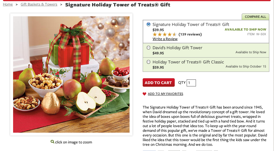 The Signature Holiday Tower of Treats® Gift has been around since 1945, when David dreamed up the revolutionary concept of a gift tower. He loved the idea of boxes upon boxes full of delicious gourmet treats, wrapped in festive holiday paper, stacked and tied up with a hand tied bow. And it turns out a lot of people loved that idea, too. To keep up with the year-round demand of this popular gift, we've made a Tower of Treats® Gift for almost every occasion. But this one is the original and by far the most popular. David like the idea that this tower would be the first thing the kids saw under the tree on Christmas morning. And we do too.