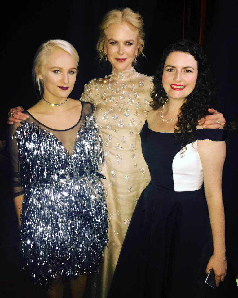Nicole Kidman with the 2017 ATYP International Ambassador Scholarship receipients Yve Blake and Belinda Locke at the G'Day USA Gala.