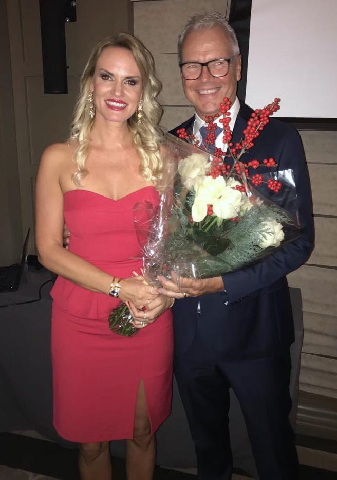 Bengt Ternström, President of SBC, with singer Lisette Uhlmann