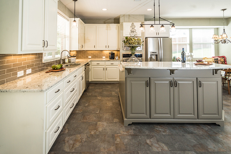 Kitchen cabinets and countertops.