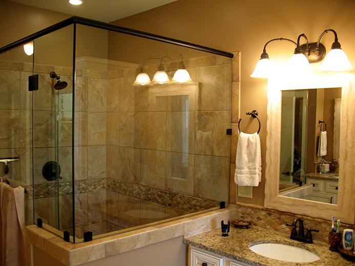 Custom tile tub and shower surround.