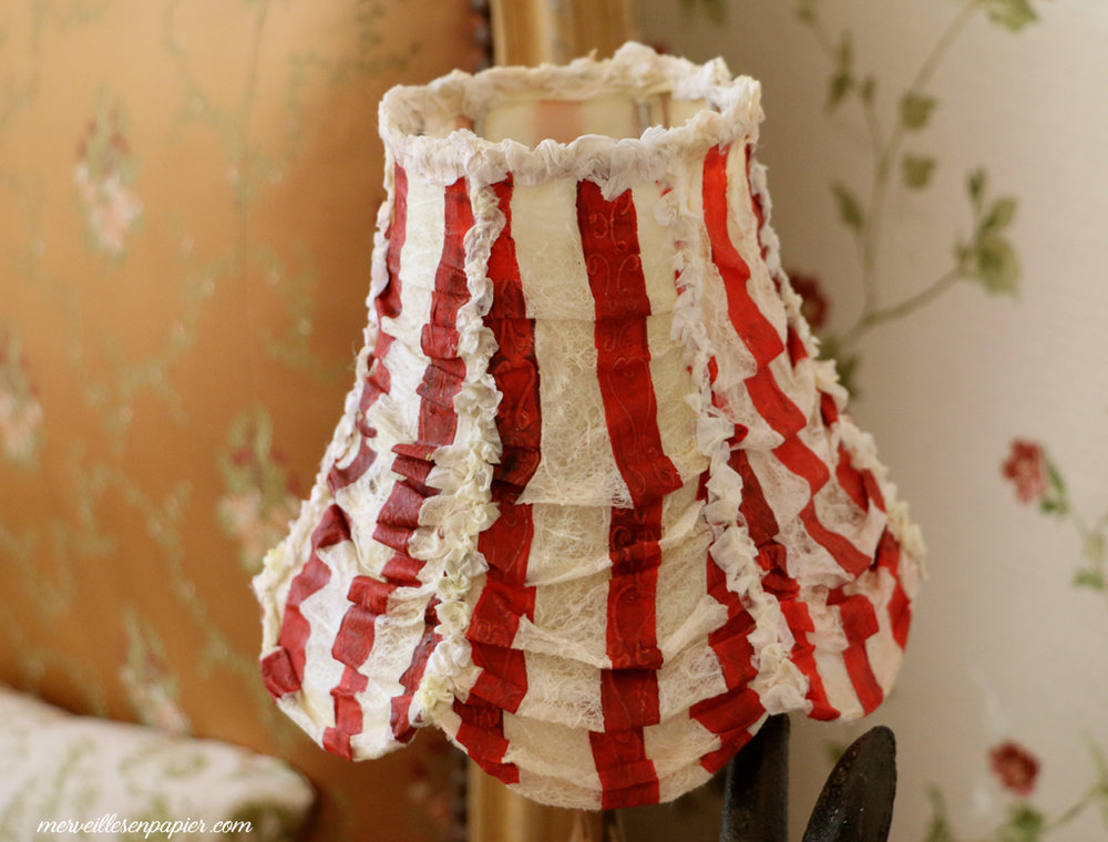 Striped paper lace lampshade
