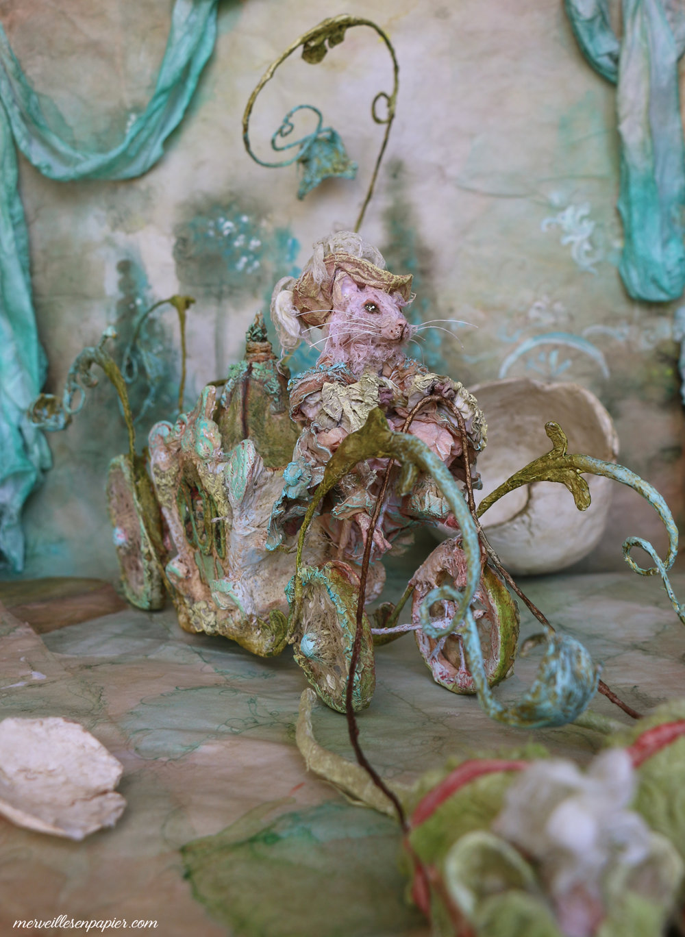The pink rat and his carriage- Blue Bird -Madame d'Aulnoy
