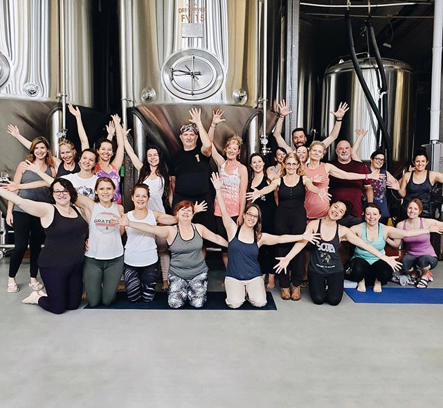 We love @deepriverbrewco 🍺happy two years of Mats+Taps! 📍Join us and see where we started power yogi family family. Sundays 12-1pm in this epic space!