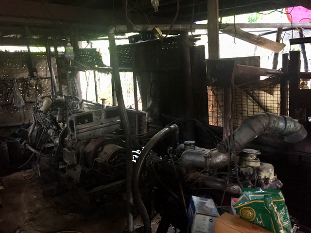 Oo Hla Myint's generator, which sits under his house