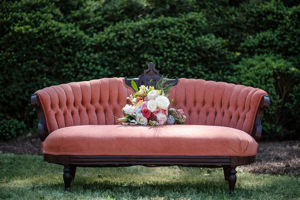 flowers on settee