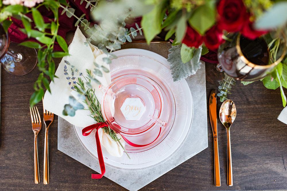geometric table setting  copper dinnerware