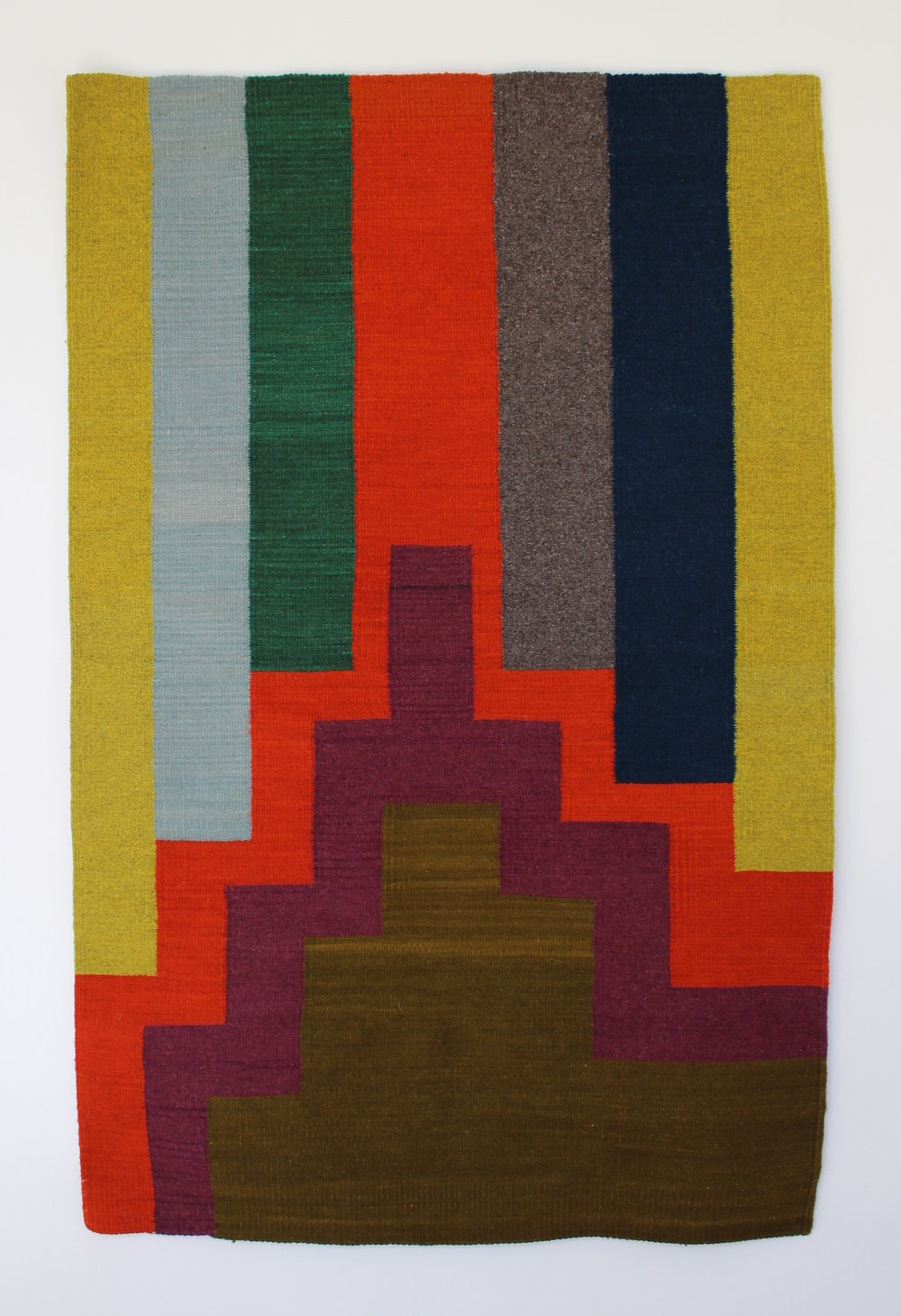 "untitled , 2016, hand-dyed woven wool, 58"" x 37 1/2"", woven by Licha Gonzalez Ruiz"
