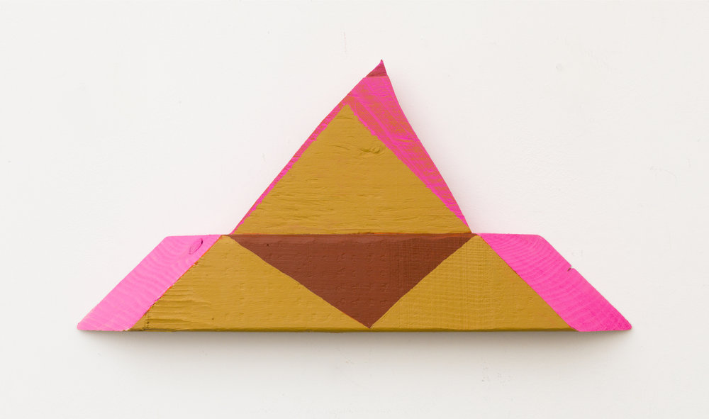 "pyramid-pyramid , 2013, acrylic on wood, 7"" x 14 1/2"" x 1 1/4"""