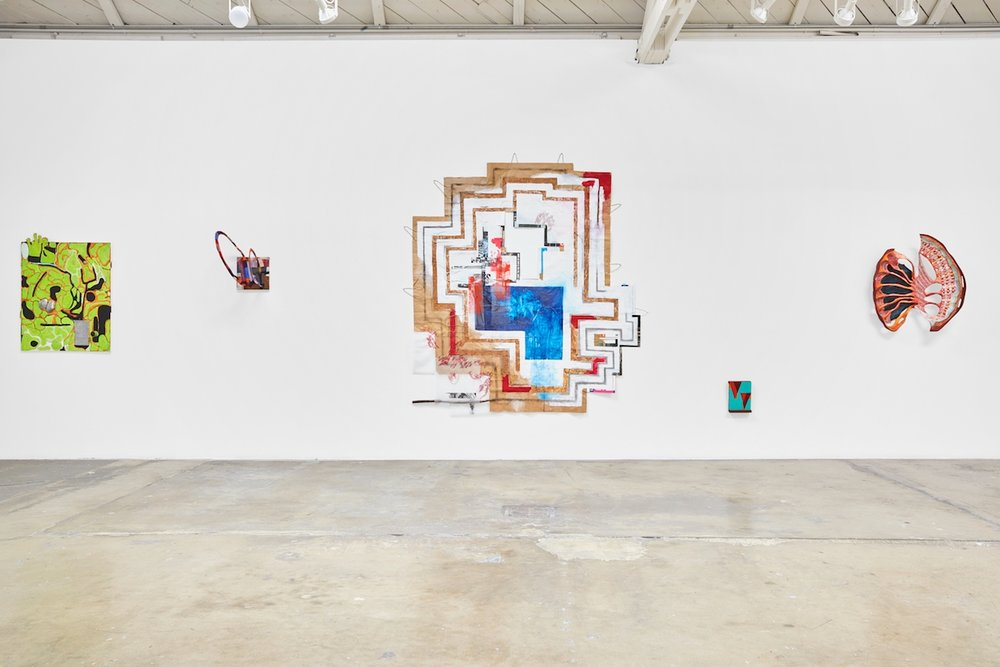 "Installation of group exhibition ""Surface of a Sphere"" at Klowden Mann, LA"