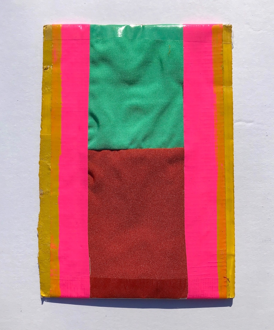 """Martha Clippinger,  A loosie for Ura,  2018, fabric, duct tape, and oil on cardboard, 6 1/2"""" x 4 1/2"""""""