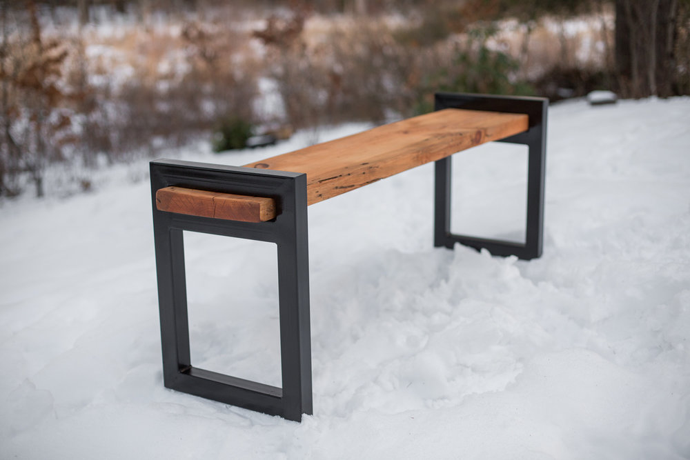 Steel and Pine Bench