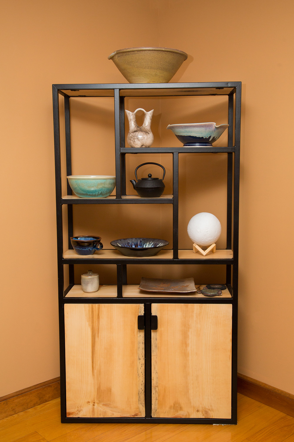 Steel and Pine Dining Room Hutch