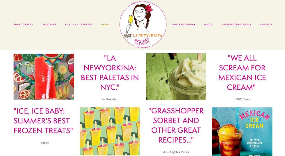La Newyorkina prototype website designed by Two Eye Monkey