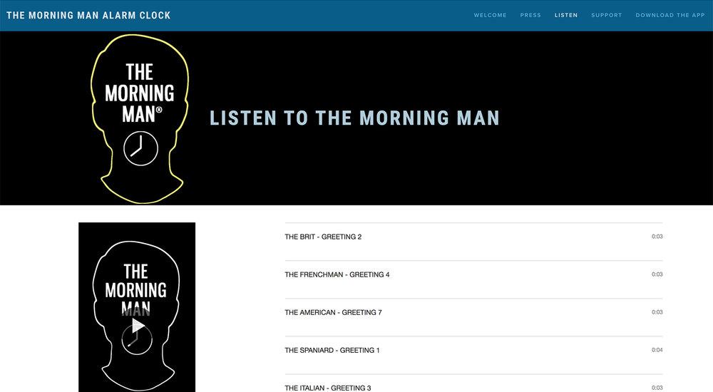 Morning Man Alarm Clock App website designed by Two Eye Monkey
