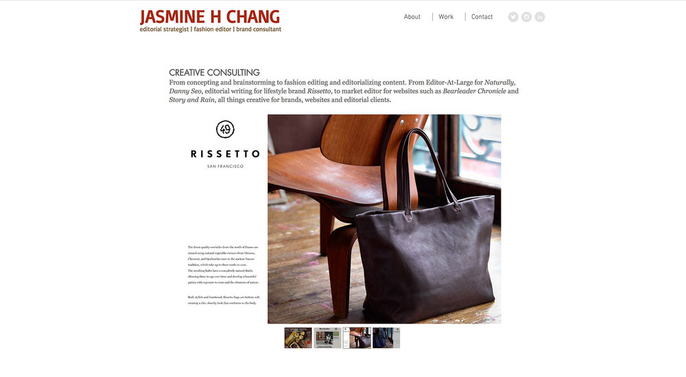 Editorial Strategist Jasmine Chang website designed by Two Eye Monkey