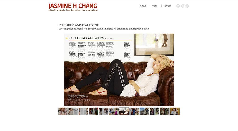 Fashion Stylist Jasmine Chang website designed by Two Eye Monkey