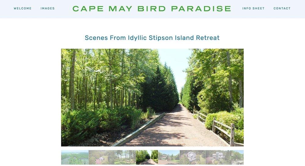 Cape May Bird Paradise website designed by Two Eye Monkey