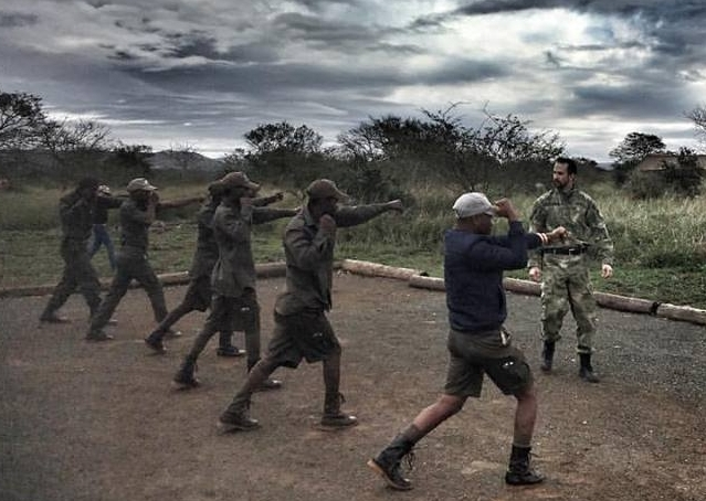 Ukuwela rangers receiving Krav Maga self-defence training thanks to  Global Conservation Force .