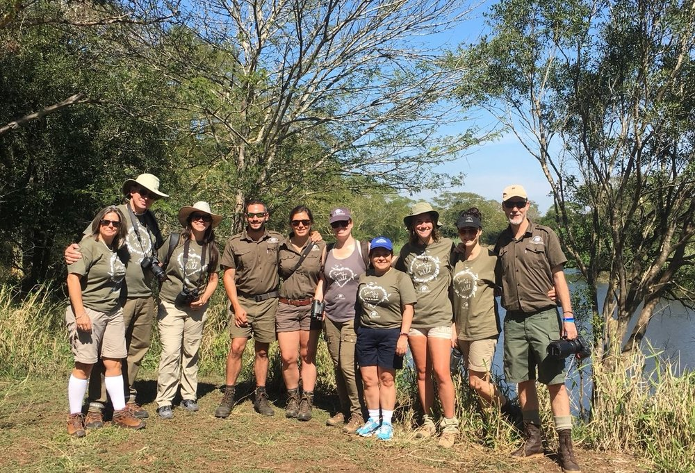 The volunteers enjoy a sun-filled day on the banks of the Mzinine River, the northern border of Wild Tomorrow Fund's Ukuwela Conservancy.