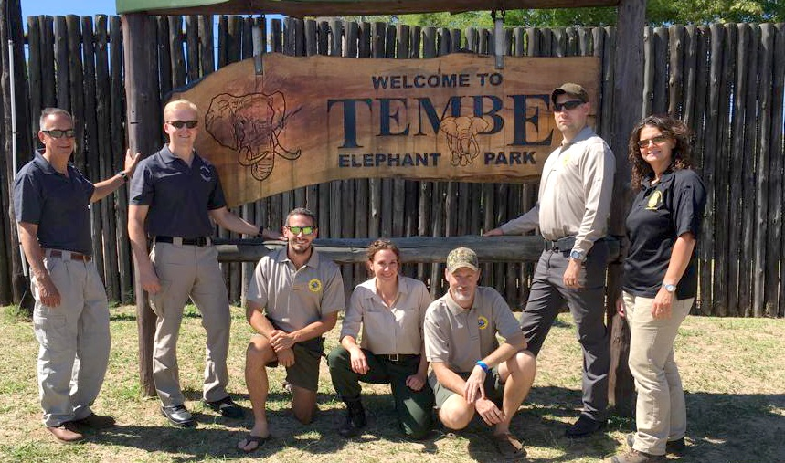 The New York State Department of Environmental Conservation team (left to right): Scott Florence, Jesse Paluch, Liza Bobseine, Ed Piwko and Karen Przyklek at Tembe Elephant Park together with Axel Hunnicutt and Clinton Wright of Wild Tomorrow Fund South Africa.
