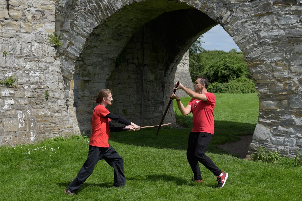 Nathan Gray and Adrian Paul, demonstrating at Trim Castle