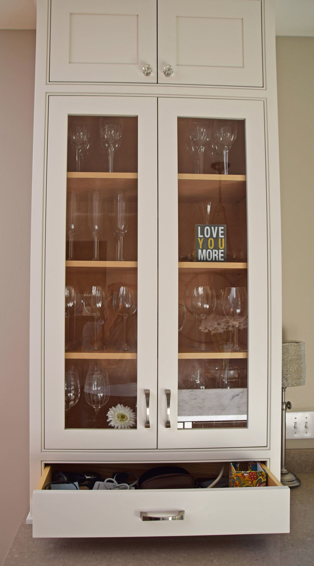 Bright White Kitchen - China Cabinet Open