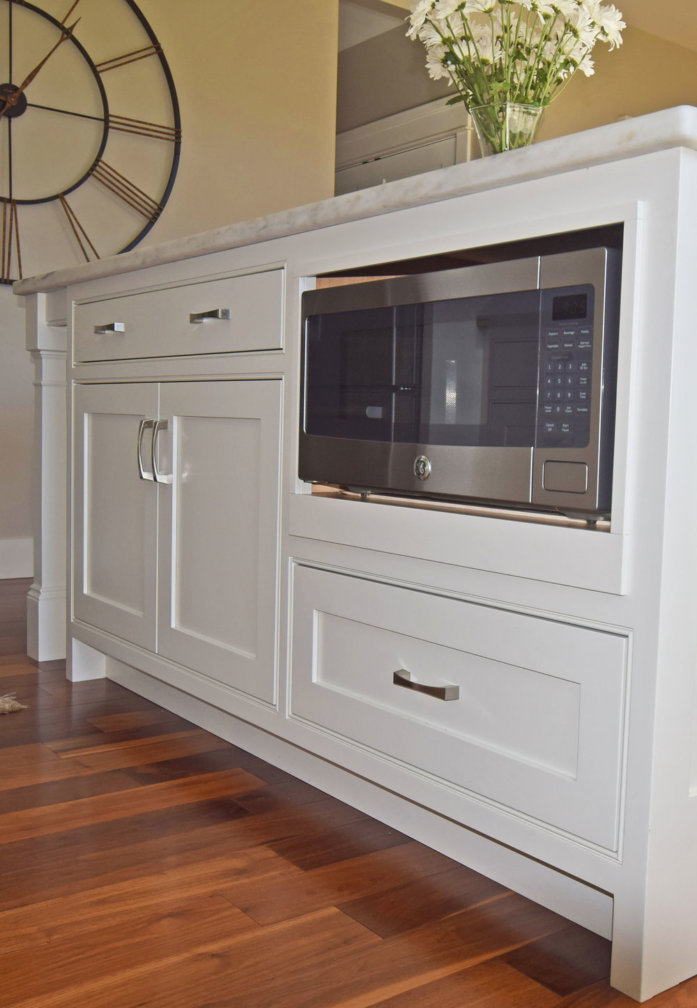 Bright White Kitchen - Microwave Enclosure