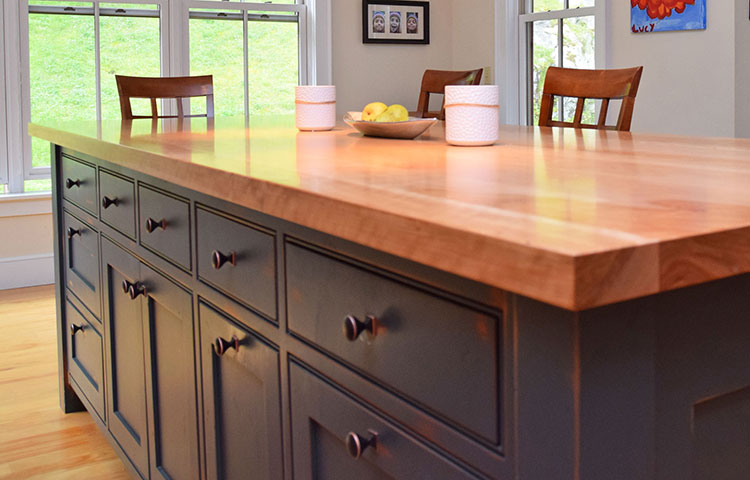 Distressed Island with Thick Wood Top - Distressed island and thick wood top add function and beauty to kitchen. More Pictures
