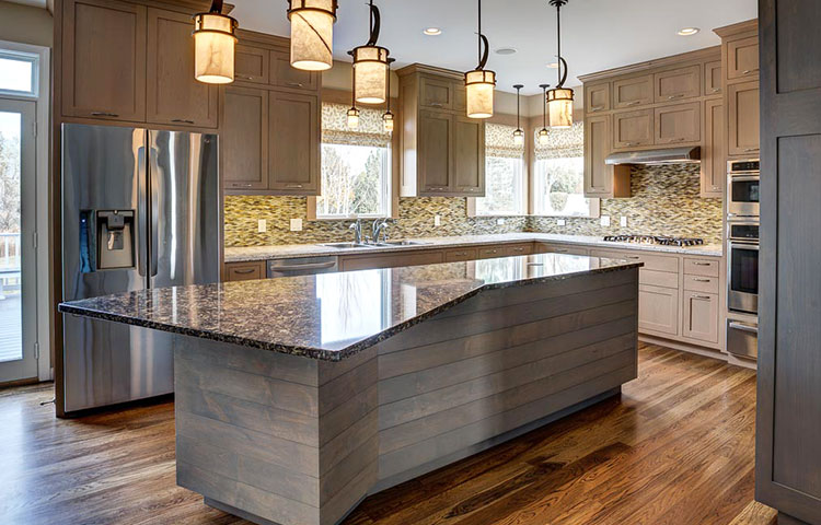 Modern Meets Traditional - Horizontal boards at back and sides of island give this traditional kitchen a modern flair.  Custom tinted stain achieves perfect tone and hue for warm wood.  More Pictures