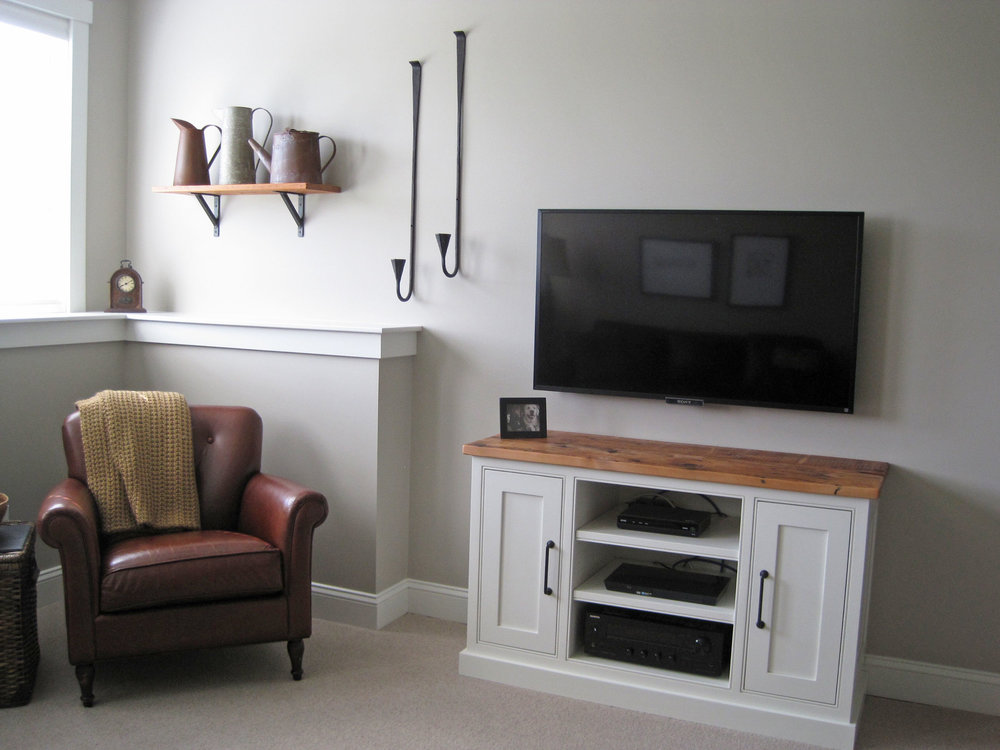 White TV Stand with wood top