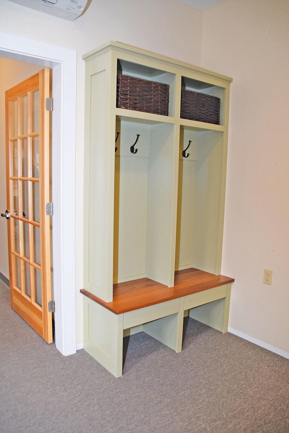 Green Built-In Mudroom Cabinet