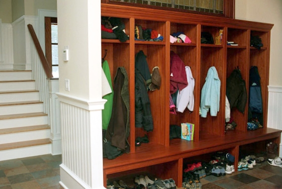 Wooden Mudroom Shelves