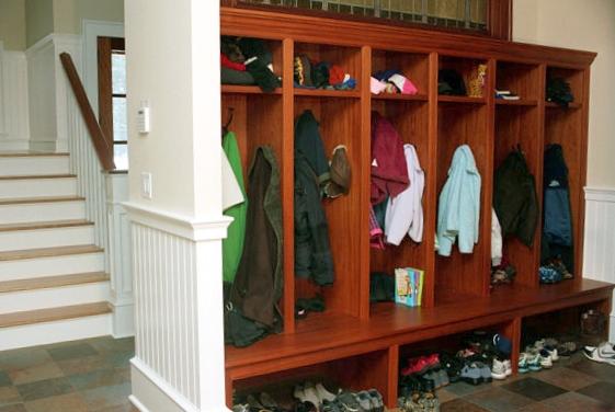 Wooden Mudroom Shelves