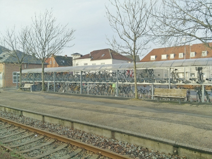 Double-decker bicycle storage at the train station in Bjerringbro.