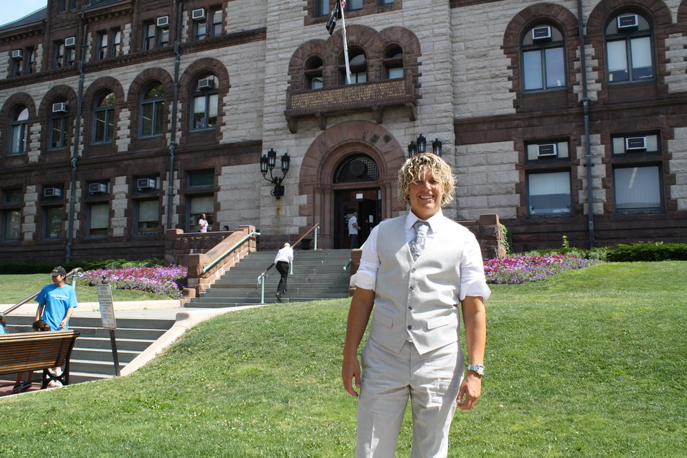 Kris outside of Cambridge Courthouse the day we got married!