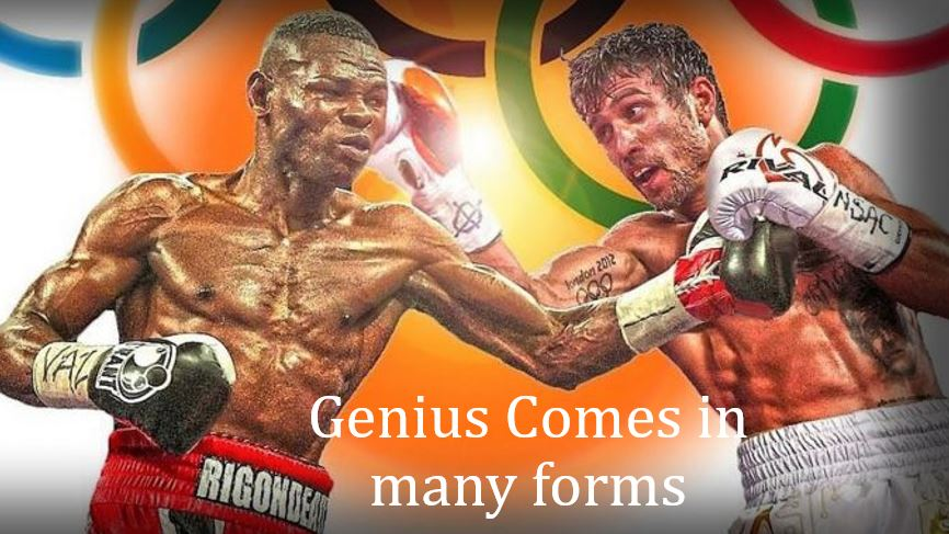Like Einstein and Newton, Lomachenko & Rigondeaux discovered at an early age what nature had wired their brains for. They realized their true talents and for most of their life pursued their destiny. After achieving 2 gold medals apiece, and victories in over 900 fights combined, their paths will cross this Saturday. Two of the slickest, technical wizards of a generation, put a lifetime of work on display for our entertainment. Who will win?... the lighting blend of agility, footwork and timing or the defensive spellbinder that hasn't lost since 2003. We get our answer soon.    This fight demonstrates that Genius is not only about having a high IQ. Genius is knowing what one should be doing and doing it as much as possible. Doing your best at what your best at. Under this definition, we all have the potential to be a type of genius.    But just like a poor Ukrainian and Cuban boy did early on, we all must figure out our true purpose and get to work. The clock is ticking. And achievement comes to those that get a head start.