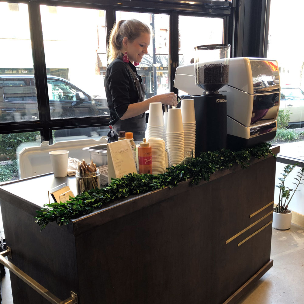 ONSITE POPUP COFFEE BARS - Our mobile coffee shops only require less than 150 sq. ft and can serve up to 300 guests an hour.