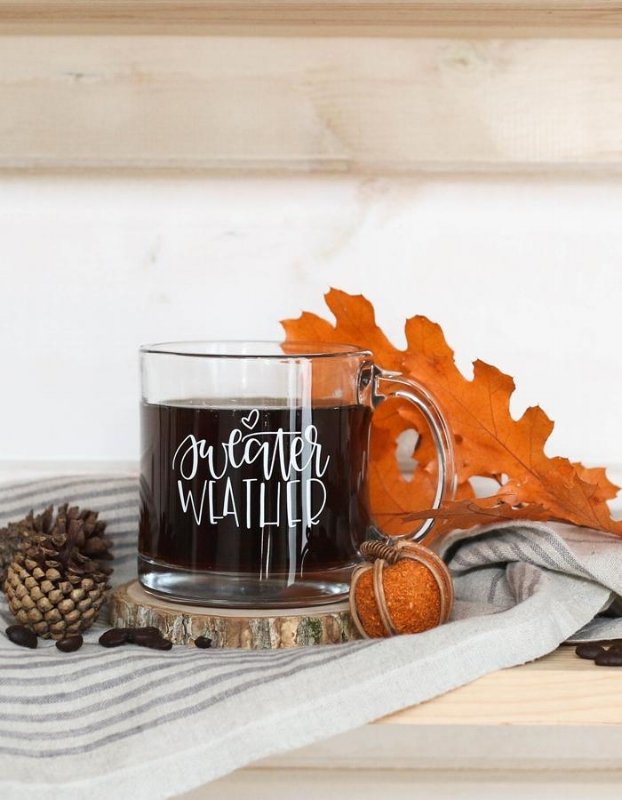 Sweater Weather Glass Mug by Chalk Full of Love