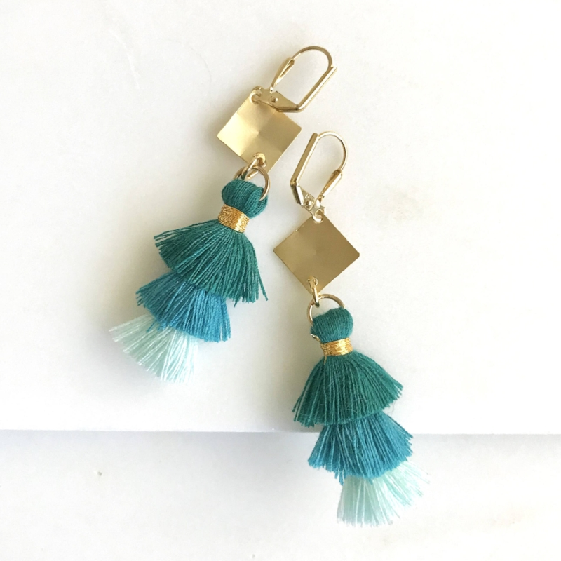 Gold Chandelier Tassel Earrings by Rustic Gem Jewelry