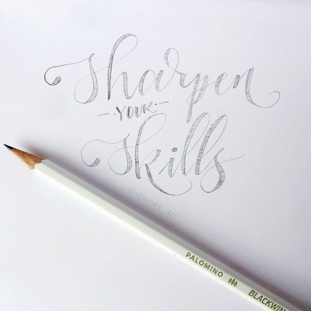 Black and white pencil lettering for National Handwriting Day 2018 with Blackwing Pencils using an Aida Lovelace Limited Edition. #sharpenyourskills