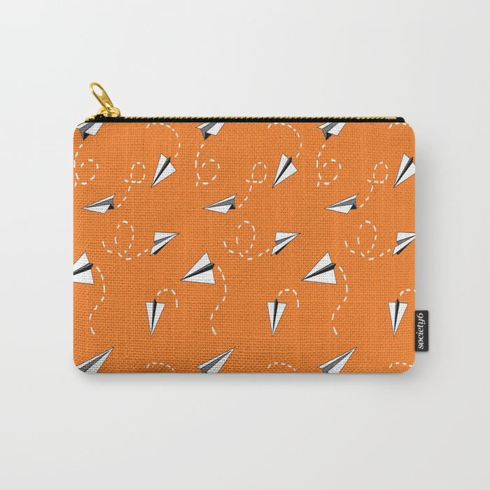 Paper airplanes on orange school days surface pattern design by sQuinks Art on Society6 carry-all pouch.  ©2017 sQuinksArt