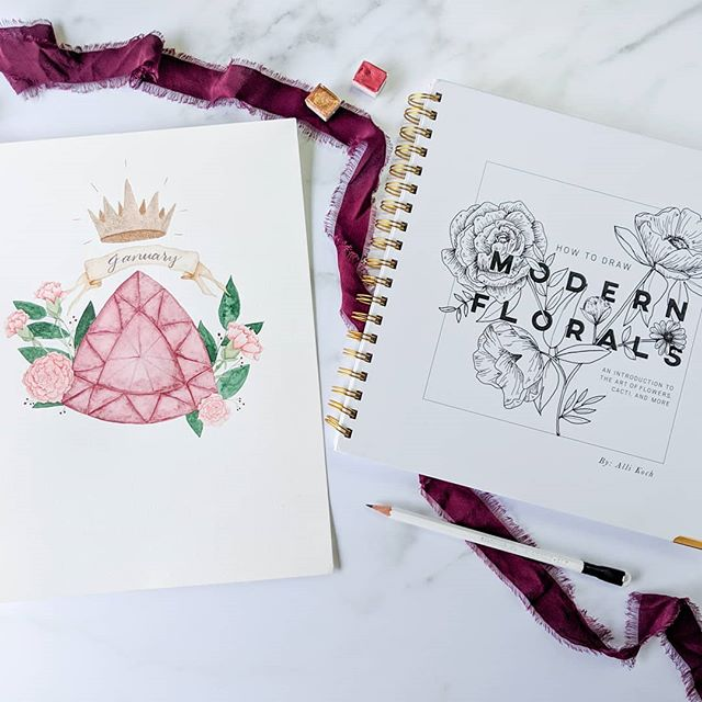 """""""Think like a queen. A queen is not afraid to fail. Failure is another stepping stone to greatness."""" - Oprah Winfrey . . .  I stayed up a bit late finishing my carnations and garnet. I went with faceted since raw garnets have complicated crystalline structures and I wasn't brave enough to attempt it. I'm excited to create a whole series of these for each month. I'm thinking of creating a calendar for 2020. What do you think? . . . I was happy to find a side view of a carnation in """"Modern Florals"""" by @allikdesign since I haven't drawn them before. I_m very happy I have this book in my library and I'm considering getting her newer floral book. Have you gotten a copy? Do you like it? . . . . Join @letters.by.luna @featherparklettering @theinkyterrier and myself @squinksart for #CreativeNewYear this month! . . . . . #oprah #queen #january #garnet #carnations #modernflorals #floralsypirway #everydayflorals #watercolour #januarybaby #watercolorbanner #watercolorlettering #brushlettering #brushstrokes #gem #watercolorcrystal #crown #beaqueen #oprahquote #watercolorflowers #flowerdrawing #creativelofe #2020calendar #allthatglitters #golden #gemstone #crystal #paintstagram"""