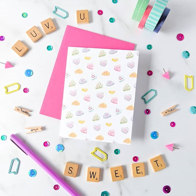 Hi. You're cute. . . . . . #sweetheart #conversationhearts #greetingcard #valentinesday2019 #valentine #valentinecard #valentinescard #conversation #heartcandy #hearteyes #hearts #valentinecandy #luvu #sweet #flatlay #flatlaygoals #snailmailrevolution #snailmail #sendlove #bemine #valentines #sweet #callme #yourock #hugme #truelove #xoxo #stationery #squinksartsurfacedesign #squinksartstationery #happymail