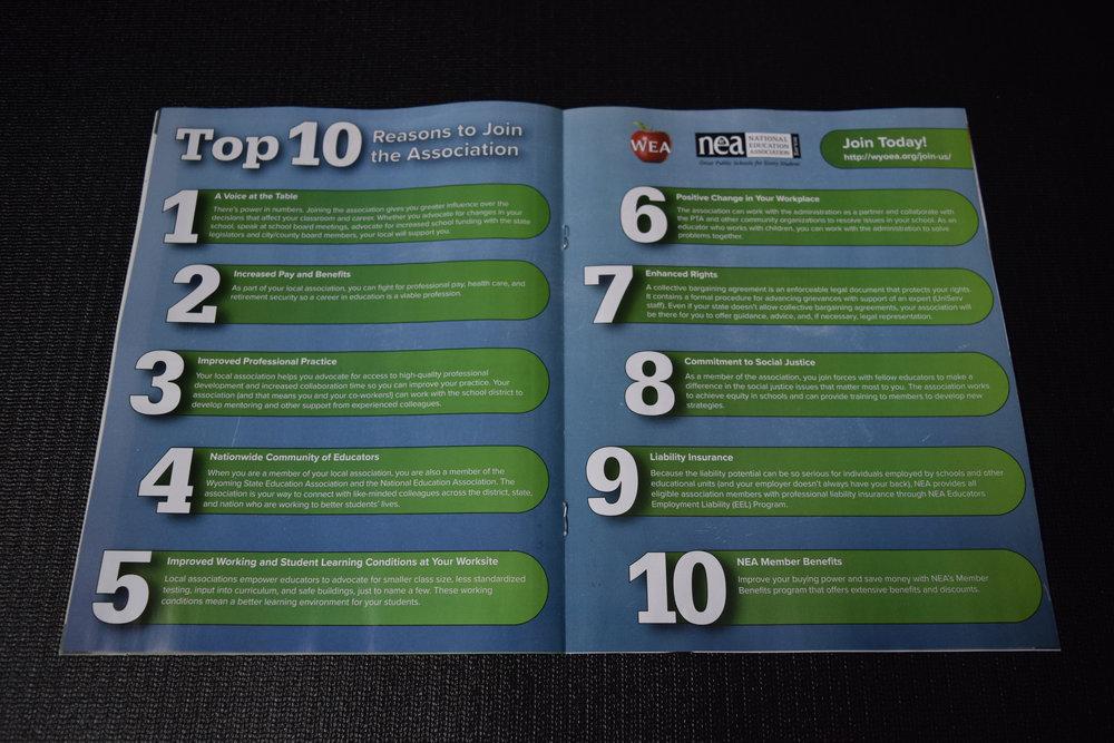"Center Spread, ""Top 10 Reasons"""